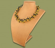 African Beaded Necklace Moyo Gold Black