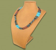 African Beaded Necklace Mvovo Aqua Copper Chocolate