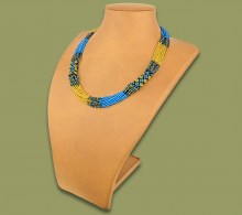 African Beaded Necklace Mvovo Blue Gold Black