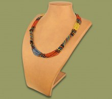 African Beaded Necklace Mvovo Brown Black Gold Metallic