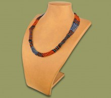 African Beaded Necklace Mvovo Brown Black Metallic