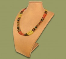 African Beaded Necklace Mvovo Gold Brown Black