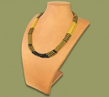 African Beaded Necklace Mvovo Gold Black