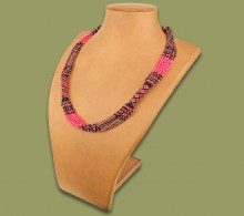 African Beaded Necklace Mvovo Pink Copper Black