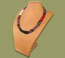 African Beaded Necklace Mvovo Red Silver Black