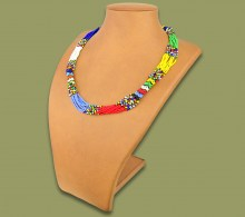 African Beaded Necklace Mvovo Zulu Colors
