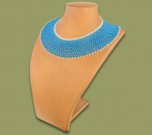 African Beaded Necklace Ntombi Blue Silver