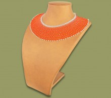 African Beaded Necklace Ntombi Orange Silver