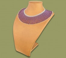 African Beaded Necklace Ntombi Purple Silver