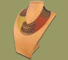 Beaded Necklace Sibaya Gold Black Brown