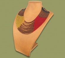 Beaded Necklace Sibaya Gold Red Black
