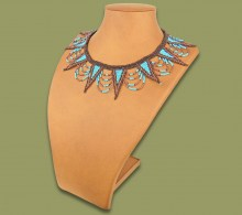African Beaded Necklace Zulu Spear Aqua Copper Chocolate