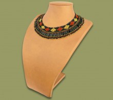 African Beaded Necklace Thandi Brown Gold Black