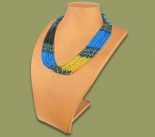 Beaded Necklace Zama Blue Black Gold