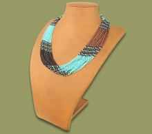 Beaded Necklace Zama Aqua Copper Chocolate