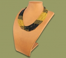 Beaded Necklace Zama Gold Black
