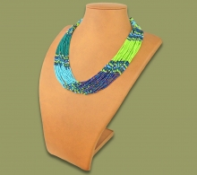 Beaded Necklace Zama Lime Navy Blue Jade