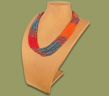 Beaded Necklace Zama Red Orange Metallic