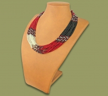 Beaded Necklace Zama Red Silver Black