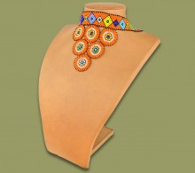 African Beaded Necklace Zulu Circle Style 2 Orange