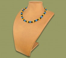 African Beaded Necklace Small Bobble Blue Gold Black