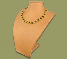 African Beaded Necklace Small Bobble Gold Black
