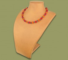 African Beaded Necklace Small Bobble Red Orange Metallic