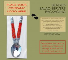 African Beaded Salad Server Personalized Packaging