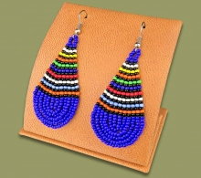 African Colors Large Tear Drop Earrings Blue