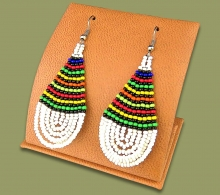 African Colors Large Tear Drop Earrings White