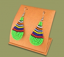 African Colors Small Tear Drop Earrings Green