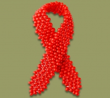 Beaded Aids Ribbon Red