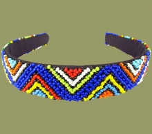 Beaded Alice Band Wide Zigzag Blue