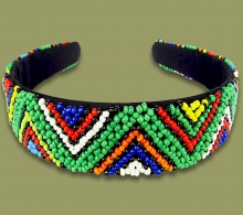 Beaded Alice Band Wide Zigzag Green