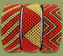 Beaded Bangle Wide Red Gold Black