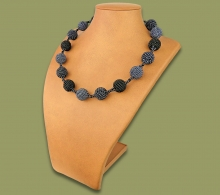 African Beaded Bobble Necklace Black Metallic