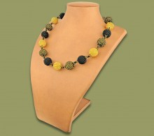 African Beaded Bobble Necklace Gold Black