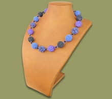 African Beaded Bobble Necklace Lilac Blue Metallic
