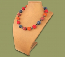 African Beaded Bobble Necklace Red Orange Metallic