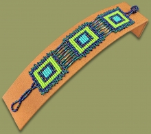Beaded Bracelets Square Lime Navy Blue Jade