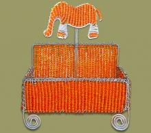 Beaded Business Card Holder Orange Elephant