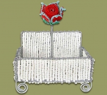 Beaded Business Card Holder Rose