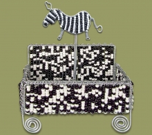 Zebra Beaded Business Card Holder