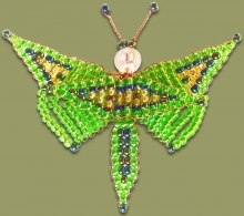 Beaded Butterfly Green