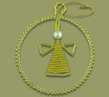 African Christmas Beaded Circle Angel Gold