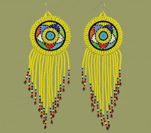Large Circle Tassel Earrings Yellow