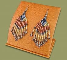 tassel earrings orange navy
