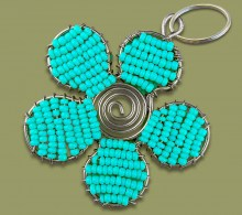 Beaded Key Ring Flower Mixed Colours