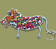 African Beaded Keyring Lion