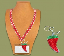 Beaded Lanyard Zigzag Red White Pouch Chilli